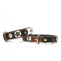 Cool and Original Brown Cat Collar and Bracelet with Black and white Leather parts and Rivets