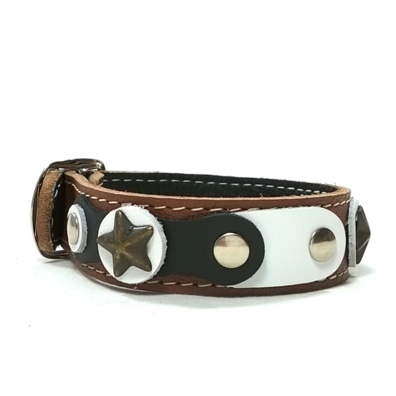 Cool and original brown bracelet with black and white for Rivets for leather jewelry