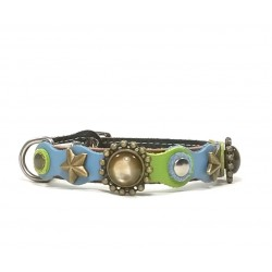 Original Fashionable Brown Cat Collar with beautiful Blue Green Pastel Colors and Rivets
