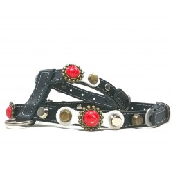 Beautiful Leather Harness for Small Dogs with Red Coral Style Polaris stones