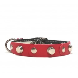 Fancy Leather Cat Collar with red Leather pieces and Studs