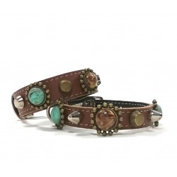 Unique Bohemian Style Studded Collar for Cats with Matching Bracelet