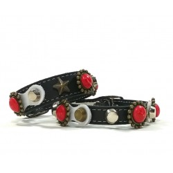 Leather Rivets Cat Collar and Bracelet Design with Red Polaris coral stones