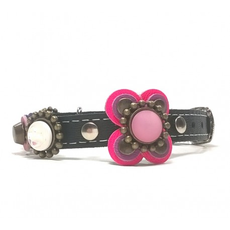 Beautiful Luxury Cat Collar with Pink and Purple Big Leather Flower