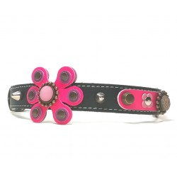 Beautiful Luxury Dog Collar with Pink and Purple Big Leather Flower
