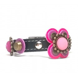 Beautiful Luxury Leather Bracelet with Pink and Purple Big Leather Flower