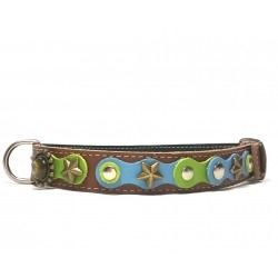 Original Fashionable Dog Collar with beautiful Blue Green Pastel Colors and Polaris Stones