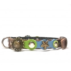 Original Fashionable Small Dog Collar with beautiful Blue Green Pastel Colors and Polaris Stones