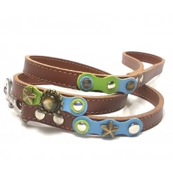 Original Fashionable Dog Lead with beautiful Blue Green Pastel Colors and Polaris Stones