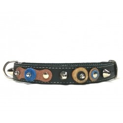 Cool Design Dog Collar with Nice Leather Patches Wooden Discs and Rivets