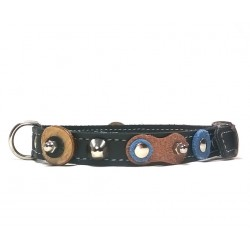 Cool Design Small Dog Collar with Nice Leather Patches Wooden Discs and Rivets
