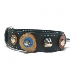 Cool Design Leather Bracelet with Nice Leather Patches Wooden Discs and Rivets