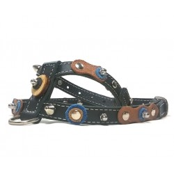 Cool Design Dog Harness with Nice Leather Patches Wooden Discs and Rivets