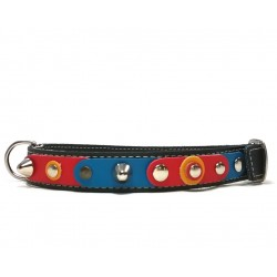 Unique Sporty Medium Sized Studded Dog Collar with beautiful Leather Studded Patches