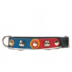 Unique Sporty Small Size Studded Dog Collar with beautiful Leather Studded Patches