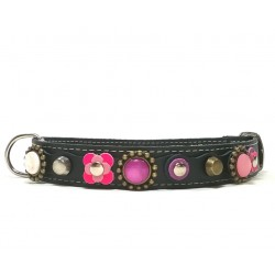 Beautiful Luxury Dog Collar with Pink and Purple Patches and Luxury Polaris Strass Stones