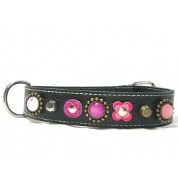 Beautiful Luxury Big Dog Collar with Pink and Purple Patches and Luxury Polaris Strass Stones