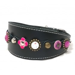 Beautiful Luxury Greyhound Collar with Pink and Purple Patches and Luxury Polaris Strass Stones