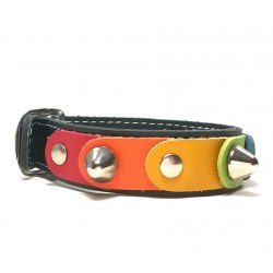 Unique and Original Leather Bracelet with the freedom rainbow colors