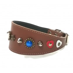 Fancy Greyhound Whippet Collar with Red White and Blue Polaris Stones
