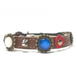 Beautiful Fancy Cat Collar with Red White and Blue Polaris Stones