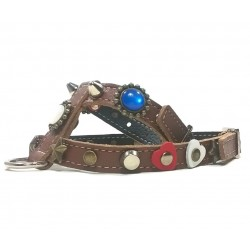 Fancy Dog Harness with Red White and Blue Polaris Stones