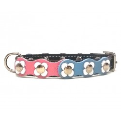 Flower-Power Dog Collar with Pink Light Blue and White Leather