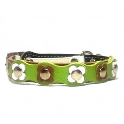 Cat Collar Flower-Power with Brown White and Green Leather