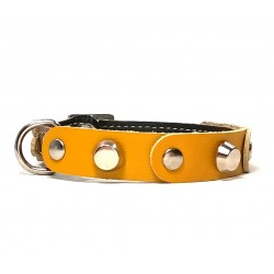 Fancy Leather Cat Collar with yellow Leather pieces and Studs