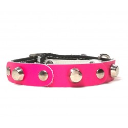 Fancy Leather Cat Collar with Fuchsia Leather pieces and Studs
