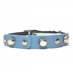 Fancy Leather Cat Collar with light blue Leather pieces and Studs