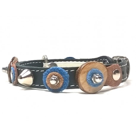 Cool Design Cat Collar with Nice Leather Patches Wooden Discs and Rivets