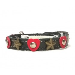 Sweet Cat Collar with Red Hearts