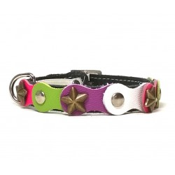 Fancy Happy Studded Black Cat Collar with Green Purple and Pink