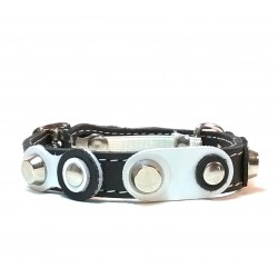 Cool Cat Collar with Black and white Leather patches and Sture Rivets