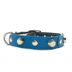 Fancy Leather Cat Collar with Blue Leather pieces and Studs