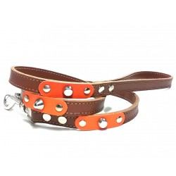 Dog Lead with Fancy Orange Leather Pieces and Rivets
