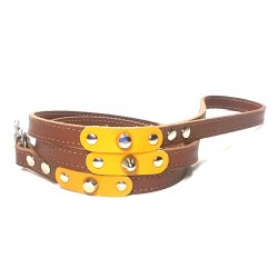 Dog Lead with Fancy Yellow Leather Pieces and Rivets