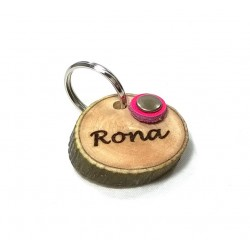 Original Dog Tag or Cat Tag of Spanish Olive Wood Engraved with Name and Phone Number