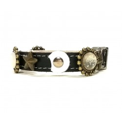 Designer Leather Bracelet with Stones and Moon Shape Leather Patches
