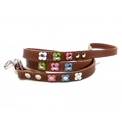 Beautiful and Unique Pastel Flower Power Leather Dog Lead