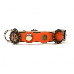 Luxury Orange and Brown Leather Dog Collar for Small Dogs