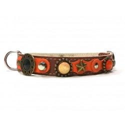 Luxury Orange and Brown Leather Dog Collar for Medium Size Dogs
