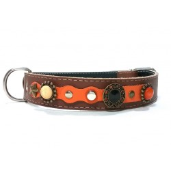 Luxury Orange and Brown Leather Dog Collar for Big Size Dogs