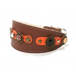 Luxury Orange and Brown Wide Leather Dog Collar for Greyhounds