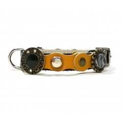 Luxury Yellow and Black Leather Collar for small Dogs and Chihuahuas