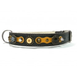 Luxury Yellow and Black Leather Collar for Big Size Dogs