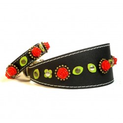 Black Leather Wide Collar & Bracelet with beautiful Red Roses and sweet Green leaves