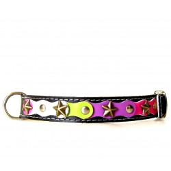 Fancy Happy Studded Black Dog Collar with Green Purple and Pink