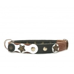 Cool and Original Brown Dog Collar with Black and white Leather parts and Rivets